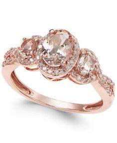 Morganite (3/4 ct. t.w.) and Diamond (1/4 ct. t.w.) Ring in 14k Rose Gold   macys.com