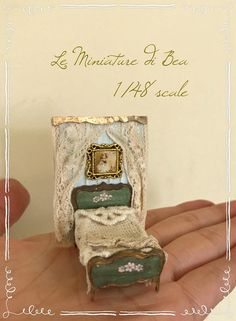 1/48 medieval francés estilo cama dollshouse miniaturas hechas