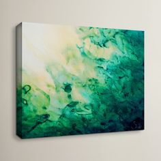 "Wade Logan 'Green Watery Abstract' by Shiela Gosselin Framed Painting Print on Wrapped Canvas Size: 32"" H x 48"" W"
