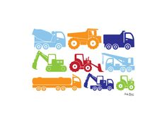 "Dig It Print Diggers Construction Trucks 8x10"" Baby Boy Bedroom Wall Art on Etsy, $22.89 AUD"