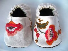 Embroidered Poppy Baby Shoes