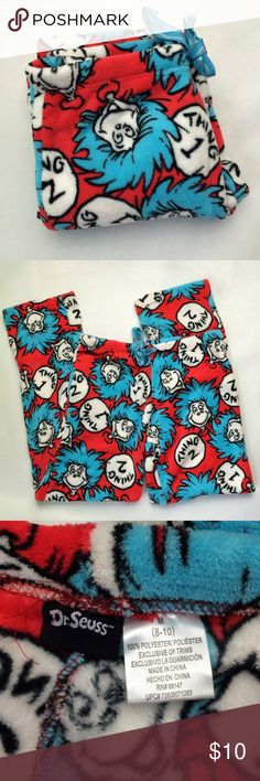 Dr. Seuss Thing 1 & 2 pajama pants Dr. Seuss Thing 1 & 2 plush pajama pants with drawstring waist. Bright, colorful, and comfy. Size is M (8-10). 100% polyester. Not interested in trades. Dr. Suess Intimates & Sleepwear Pajamas