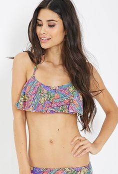 b7f5b86062 Tribal Print Flounce Bikini Top
