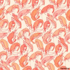 Shrimps. Seamless pattern background. Drawn illustration, sketch, doodle