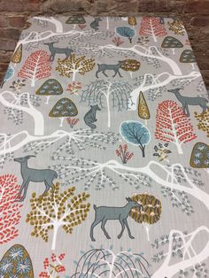 Grey tablecloth with wild animals and trees, Scandinavian design,Swedish style, great gift by SiKriDream on Etsy