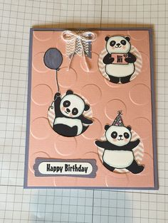Party Pandas by Stampin' Up! In Blushing Bride and Wisteria Wonder.