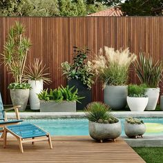 If you are working with the best backyard pool landscaping ideas there are lot of choices. You need to look into your budget for backyard landscaping ideas Outdoor Planters, Outdoor Gardens, Indoor Outdoor, Planters Around Pool, Stone Planters, Outdoor Potted Plants, Fence Planters, Decking Fence, Modern Planters