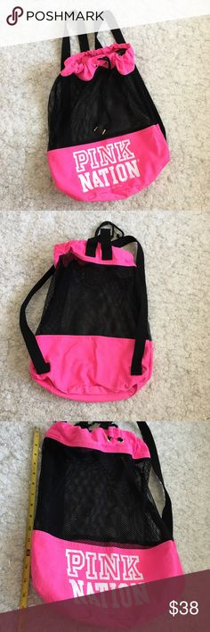Authentic Pink Nation Backpack Authentic. Gorgeous drawstring backpack from PINK NATION Victoria Secret. Used and in good condition. THE PRICE IS FIRM. PINK Bags Backpacks