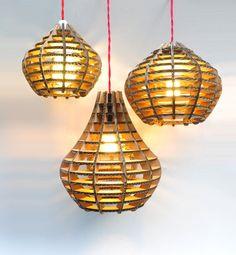Corrugated cardboard pendant light shade.