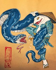 Back on these gouache paintings again! Japanese Tattoo Art, Japanese Tattoo Designs, Chicano Lettering, Graffiti Pictures, Frog Tattoos, Samurai Artwork, Traditional Japanese Tattoos, Asian Tattoos, Japan Tattoo