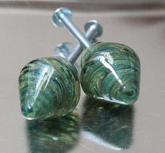 Designer lampwork glass drawer pulls, small knobs pair. Another possible option for my antique dresser.