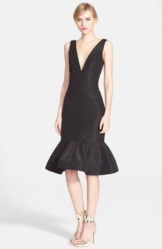 Oscar de la Renta Cutout Back Silk Faille Tulip Dress | Nordstrom