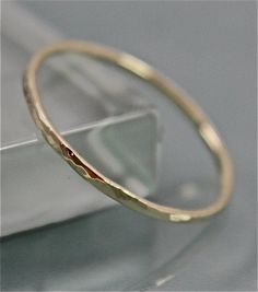 18k SOLID Yellow Gold Thin Faceted Hammered by tinysparklestudio