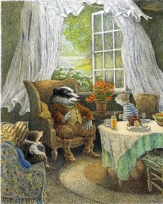 An illustration from  Kenneth Grahame's children's book 'Wind in the Willows' (1908)illustrated by contemporary artist Inga Moore (1945). Inga Moore was born in England but moved with her family to Australia in 1952. In 1981 she returned to England and became a published author and an illustrator of children's books. Some of the published credits of Inga Moore include The Secret Garden, Horse Tales, and A Spider Bought a Bicycle.