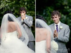 This mans emotional reaction to seeing his wife in her dress:)