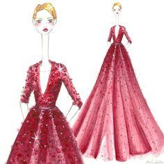 Elie Saab inspired fashion illustration with watercolors Stephanie Jimenez