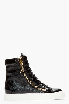 GIUSEPPE ZANOTTI Black patent leather London Shark tooth sneakers