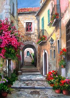 Like it but without the water drain as a focal point and wish instead of the tiny door, a water fountain Watercolor Landscape, Landscape Paintings, Watercolor Paintings, City Painting, Oil Painting Abstract, City Art, Abstract City, Pictures To Paint, Beautiful Paintings