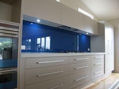 blue splashback nz - www.opalglass.co.nz Grey Cupboards, Kitchen Planner, Splashback, Mirror, Interior Ideas, Kitchens, House Ideas, Blue, Bright