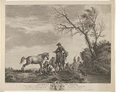 An accident while traveling, a kneeling man fixing a broken saddle, a horse pissing at the left  Charles Nicholas Cochin