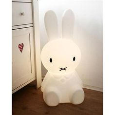 Giant Miffy Lamp: In 1955 by Dutch artist Dick Bruna created Miffy after telling his son stories about a rabbit they seen on a beach holiday. Made in Holland. Measures 80cm high x 40cm wide. Smaller version also available. #Lamp #Miffy #Rabbit