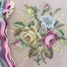 Needlepoint Kits, Needlepoint Canvases, Vintage Canvas, Vintage Prints, English Flowers, Star Flower, Stitch Kit, Photo Canvas, Warm Colors