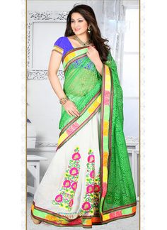 Green Brasso Half N Half Saree With Resham Work