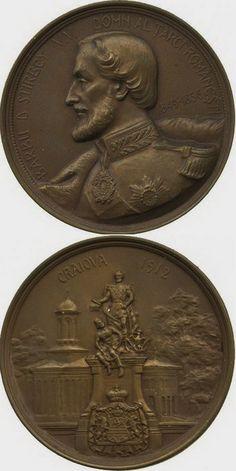 Barbu D. Ştirbei - Domn al Ţării Romîneşti 1849 - 1856 Craiova - 1912 World Coins, Coin Collecting, Ms, Web Design, Bronze, Drawings, Flowers, Silver, Gold