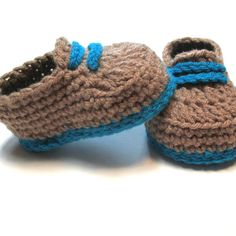 Crochet baby boy crib shoes loafers booties.  Brown and blue.  Ready to ship.  3-6 months baby boy shoes for baby shower gift or photo prop. by ThoughtfulStitches on Etsy