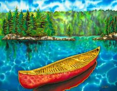Algonquin Park Canada - Red Canoe Metal Print by Daniel Jean-Baptiste. All metal prints are professionally printed, packaged, and shipped within 3 - 4 business days and delivered ready-to-hang on your wall.