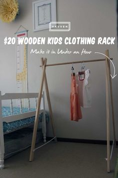 Wooden Kids Clothing Rack With Wooden Kids Clothing Rack Garment And White Stain Wall And Varnished Wood Floor Tile Together With Varnished Wood Clothes Racks Leg Wooden Clothes Rack, Diy Clothes Rack, Portable Clothes Rack, Kids Clothing Rack, Wood Clothing Rack, Diy Kids Furniture, Wood Tile Floors, Wood Floor, Diy Clothes Videos