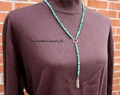 Turquoise Necklace  Silver Feather Necklace  by TwoFeathersJewelry, $63.50