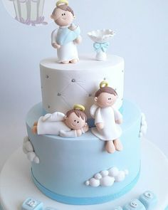 Best Baby Shower Varon First Communion Ideas Baby Cakes, Baby Shower Cakes, Torta Angel, Angel Cake, Fondant Cakes, Cupcake Cakes, Dedication Cake, First Communion Cakes, Religious Cakes