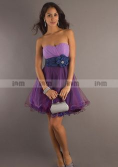 Strapless A-line Sweetheart-neck Bubble Hem Tulle Homecoming Dresses