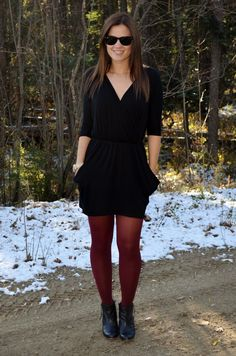 black dress coloured tights