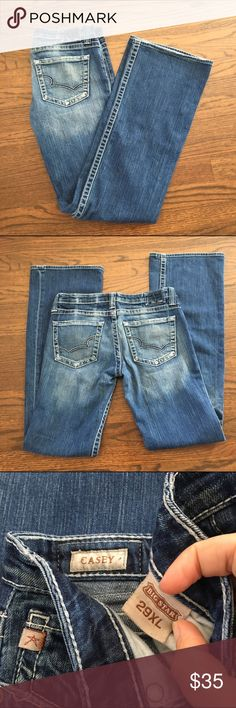 """Big Star Casey Bootcut Jeans Casey Bootcut. Perfect indigo color with white stitching. Size 29XL with 34"""" inseam. Excellent condition. Big Star Jeans Boot Cut"""