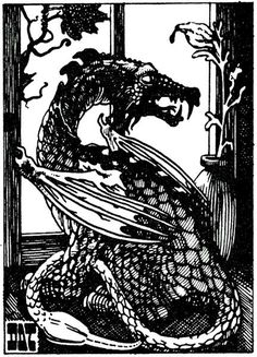 Pseudo-dragon daydreams by the window. (Dave Trampier from the AD&D Monster Manual, TSR, 1977.)