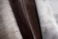 Fabric | Altfield silk velvet | left to right: strie velvet in mouse | silk velvet in brown and grey