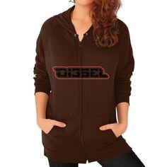 Di3seL Logo(Red Variant) Zip Hoodie (on woman) Shirt
