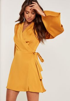 Make a bold color statement in this Silky Kimono Sleeve Swing Dress Yellow by Missguided on ShopStyle.