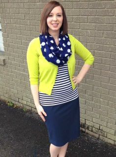 Pattern Mixing. Chartreuse and Navy. Modern Modesty.