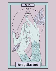 Amethyst Pastel Sagittarius Tarot Zodiac Art Print