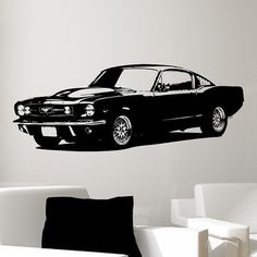Old School 1965 Ford Mustang Muscle Car/Vinyl by Pillboxdesigns, $49.99  baby Oli's room