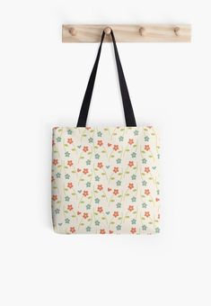 Nature Spring Retro Red Small Floral Pattern Totebag  by LisaLiza. #nature #spring #floral #flower #retro #vintage #plant #pattern #sweet #smallflowers #redbubble #giftideas #tote #totebags