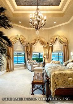 """Master Bedroom. The Sater Design Collection's luxury, Mediterranean home plan """"Padova"""""""