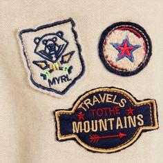 Mayoral - Boys Beige Cotton Badge Trousers | Childrensalon