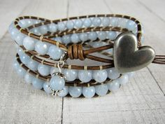 Pastel Blue Boho Bracelet for Women - Beaded Triple Wrap Bracelet - Leather Wrap Bracelet by NimbleKnots Studio