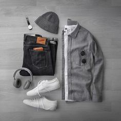 Flannel season.  Shirt: @corridornyc Heavy Grey Flannel Beanie: @americantrench Cashmere T-Shirt: @nonationality07 Headphones: @beoplay H7 Denim: @rgt Slub SK Wallet: @tannergoods Shoes: @commonprojects Watch: @uniformwares C40 Sunglasses: @oliverpeoples Gregory Peck
