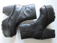 Vintage 90s, Black Faux Leather,  CHUNKY Platform Heel, Stacked Boots
