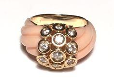 Van Cleef & Arpels 18K YG Babylone Diamond Coral Ring #VanCleefArpels #Band